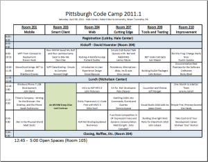 2011 Pittsburgh Code Camp Schedule