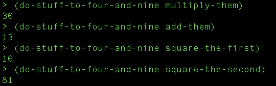 Our four simple functions passed into the 'four-and-nine' function