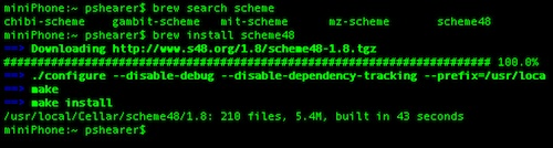 Install Scheme via Homebrew on Mac OSX