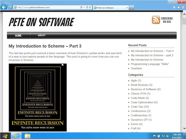 PeteOnSoftware viewed on Windows 8