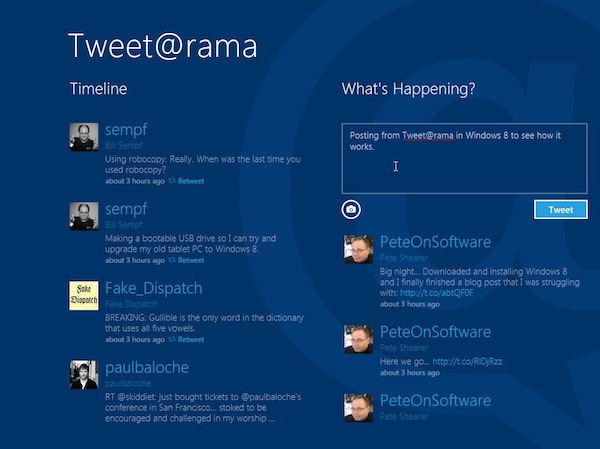 Tweet@rama, a Twitter Client on Windows 8