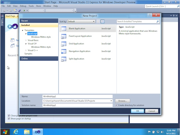 Visual Studio 11 on Windows 8