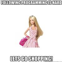 Programming is Hard, Let's go Shopping. From http://memegenerator.net/instance/30286782