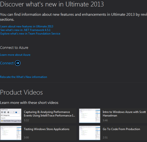 Visual Studio 2013 Product Videos Shown