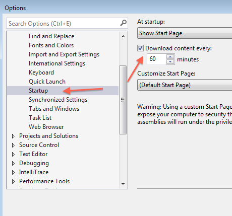 Visual Studio 2013 Options .. Startup .. Download Every