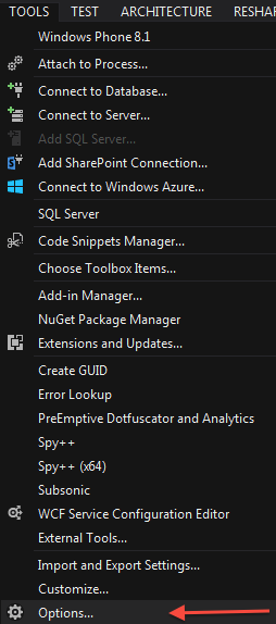 Visual Studio 2013 Tools .. Options
