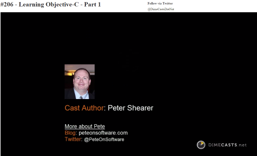 Author Screen from my Learning Objective-C Part 1 Dimecast