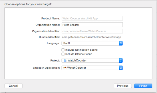 Xcode WatchKit Target Options
