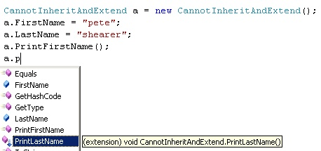 Intellisense for the new method on the sealed class.