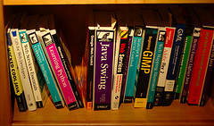 Bookshelf image from flickr.com/photos/ianturton/2341264331/