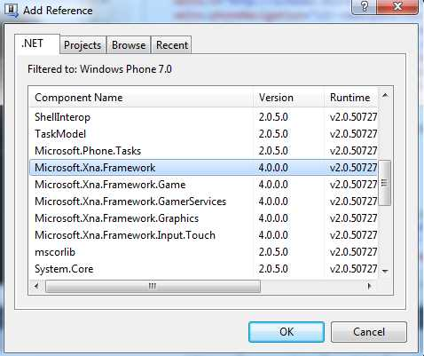 Adding the Microsoft.Xna.Framework reference