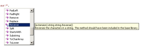 Example of the Reverse() extension method
